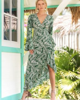 Green Maxi Dress Long Sleeve V Neck Leaf Print Ruffles Irregular Dress