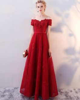 Lace Applique Beaded Floor Length Formal Prom Dress