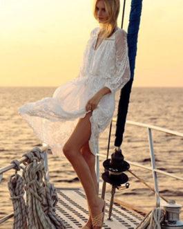 Lace V Neck Long Sleeve Maxi Women Boho 2 Piece Dress