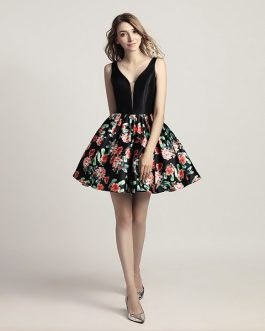 Little Black Prom Floral Print V-Neck Short Mini Party Summer Dress