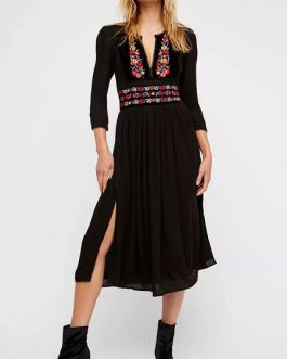 Long Sleeve Boho V Neck Embroidered Split Summer Dress