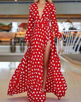 Long Sleeve Maxi Dress Plunging Polka Dot Split Party Dress