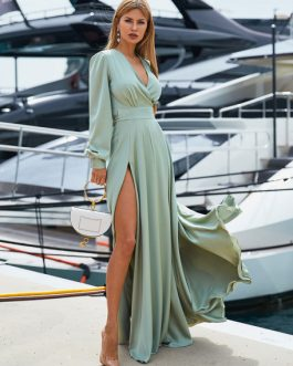Long Sleeve Maxi Dress V Neck Party Dress Split Casual Dress