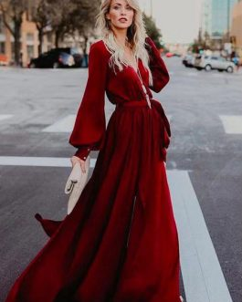 Long Sleeve Maxi Dress V Neck Tie Waist Split Party Dress