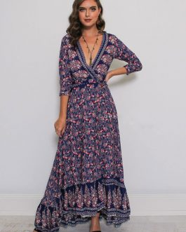 Maxi Boho Dress Plunging Printed Split Fall Dress