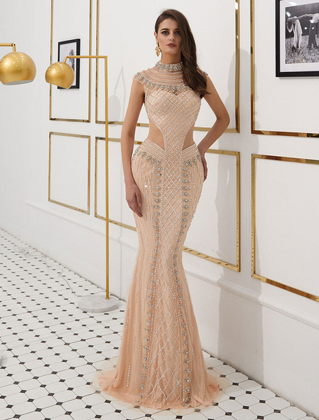 9872aaf71ad Mermaid Luxury Heavy Beading Illusion Cutout Formal Evening Dress