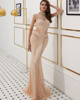 Mermaid Luxury Heavy Beading Illusion Cutout Formal Evening Dress