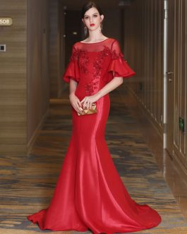 Mermaid Luxury Flowers Illusion Bell Sleeve Formal Evening Dress