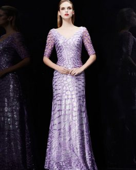 Mermaid Sequin Embroidered Wedding Guest Formal Evening Dresses