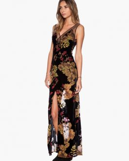 V-neck  Floral Print Split Chiffon Maxi Dress