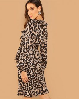 Multicolor Casual Leopard Print Belted Ruffle  Dress