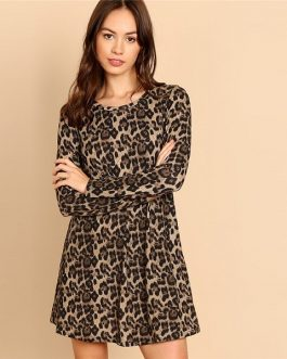 Multicolor Leopard Print A Line Mini Dress