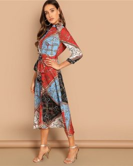 Multicolor Patchwork Print Shirt Dress