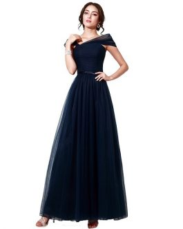 Navy Blue Prom Fashionable Cap Sleeves Mother evening Gowns