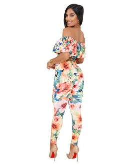 Off Shoulder Jumpsuit Floral Print Ruffle Summer Beachwear