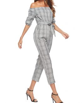 Off The Shoulder Jumpsuit Half Sleeve Plaid Casual Jumpsuit For Women