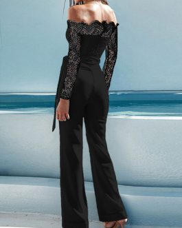 Off The Shoulder Long Sleeve Lace Flared Leg Jumpsuit