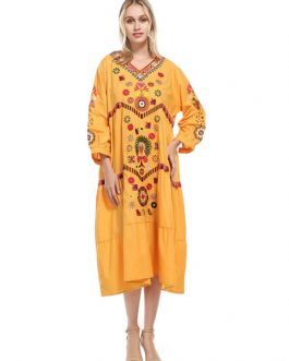 Oversized Boho V Neck Ethnic Embroidered Cotton Long Dress