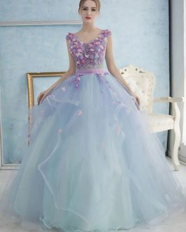 Pastel Blue Princess Pearl Flower Prom Dress