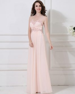 Peach Formal Evening Chiffon Beaded Prom Party Wedding Dress