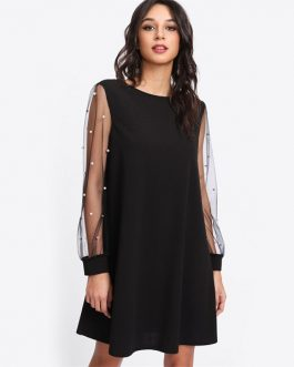 Pearl Beading Mesh Sleeve Tunic Dress