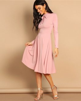 Pink Bow Tie Neck Solid Flowy Slim Fit Dress