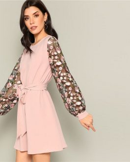 Pink Flower Embroidered Mesh Sleeve Belted A-Line Dress