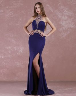 Prom Halter Long Evening Beaded Sweep Train Split Party Dress