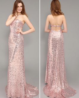 Sheath Strapless Backless Evening Dress Sequined Sweetheart Party Dress With Brush Train