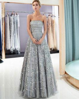 Prom Long Strapless Sequin Light Grey Luxury Women Pageant Dress
