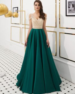 Prom Satin Beaded Luxury Cold Shoulder Formal Evening Gowns