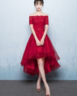 Red Lace High Low Prom Cocktail Party Dresses
