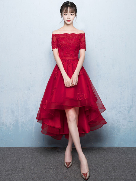 Red Lace High Low Dress
