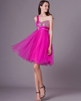 Rhinestone Beaded Prom Dress With One-Shoulder