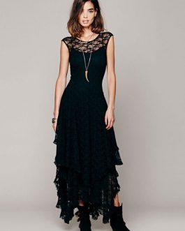 Layered Lace Maxi Dress for Women