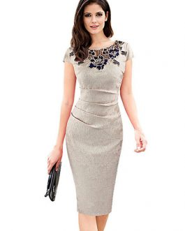 Round Neck Applique Cap Shaping Sheath Dress