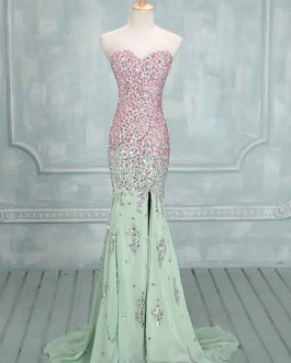 Sage Sweetheart Neck Sequin Mermaid Chiffon Prom Dress