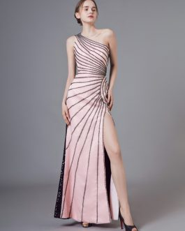 Sequin Evening Dresses Sexy Split One Shoulder Maxi Formal Gowns