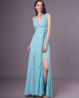 Sexy Evening Dresses Formal High Split Aqua V Neck Plunging Backless Prom Dress