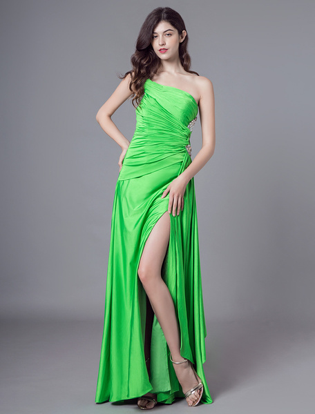 9ddf65d2b Sexy Evening Dresses One Shoulder Long Prom Dress High Split Beading Green Formal  Gowns