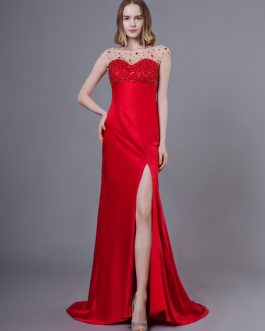 Sexy Evening Dresses Red Beaded Backless High Split Sheath Formal Gowns