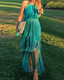 Sexy Maxi Dress Halter Strappy Fringe Blue Backless Party Dress