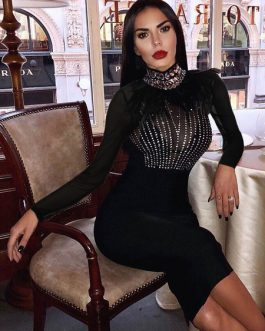 Sexy Party Dress Black Bodycon Dress Long Sleeve High Cillar Feathers Rhinestones Shaping Midi Dress