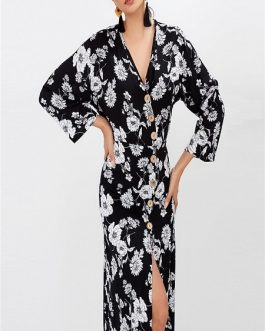 Sexy V-neck Floral Printed  Button Split Maxi Women Dress