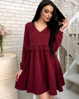 Sexy V-neck Ruffle Mini Straight Dress Women Dress