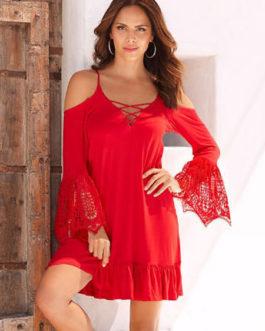 Shift Women Boho Strappy Long Sleeve Short Dress