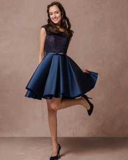 Short Lace Beading Homecoming Dress