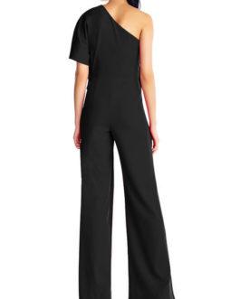Wide Leg Jumpsuit Short Sleeve One Shoulder Jumpsuit For Women
