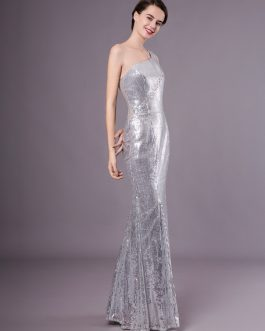 Silver Mermaid Sequined One-Shoulder Evening Dress