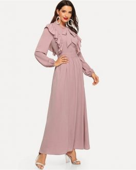 Spring Solid Elegant Maxi Dresses